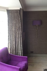 Curtains, armchair and interior design by Grandwood Furniture, West Sussex